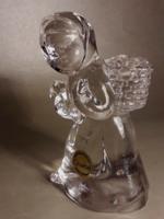 Goebel glass kristály üveg  jelzett gyertyatartó figura