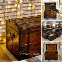 Antik bútor, régi utazó láda 2. Felújított.