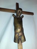 MELOCCO MIKLÓS - ISTEN BÁRÁNYA - bronz kisplasztika, szobor, jelzett, fakereszten