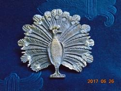 Vintage pávás, köves nagy bronz öv csat 9,5 cm