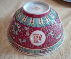 Kínai, gazdagon festett porcelán tál, 16 cm az átmérője