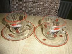 Festett üveg mokkás csészék kistányérral (2 db)