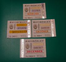BKV bérlet szelvény - 2001 – 4 db