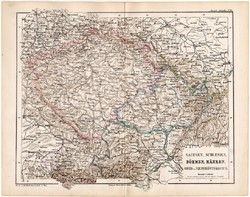 Szászország, Szilézia, Csehország, Morvaország, Ausztria térkép 1870, eredeti, német nyelvű, atlas