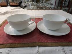 Fehér festetlen herendi páros teás csésze