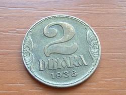 JUGOSZLÁV KIRÁLYSÁG 2 DINÁR 1938 #