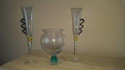 Üveg zöld csavart talpas nagy kehely pohár + 2 db gyönyörű pezsgős pohár  eladó!