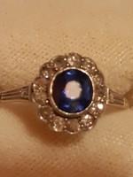 Csodaszép antik 14k. arany gyűrű zafírral és gyémántokkal