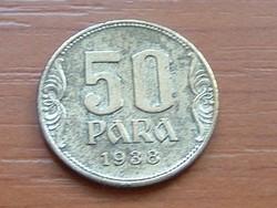 JUGOSZLÁV KIRÁLYSÁG 50 PARA 1938 #