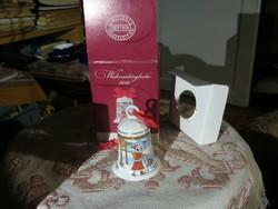 2010 Hutschenreuther porcelán csengő, jelzett, matricás, hibátlan, eredeti dobozában, m:7 cm