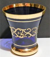 Retro kézi  festett váza ,gazdagon aranyozott