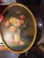 Gyönyörű, századeleji virágcsendélet, eredeti keretben. szignált