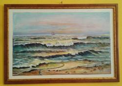 OLAJFESTMÉNY -Tajtékzó tengerpart - Tengerpart - Hullámok