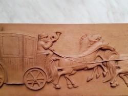 Antik,  hintó, négy lóval,... falikép.