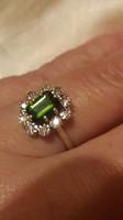 10 gyémánttal zöld Turmalinnal  585/14kr.arany gyűrű