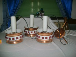 Retro fém csillár - három búrás