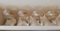 4 db metszett színezett antik talpas pezsgős pohár hibátlan állapotban