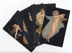 Gyönyörű antik Stengel postatiszta Pompeji művész képeslapok 5 db