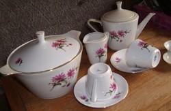 Alföldi porcelán készlet 6 személyes teás készlet kiöntővel + leveses tál, sótartó és tejszínes kiön