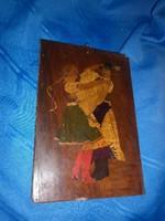 Antik intarziás falikép fából kézzel készített