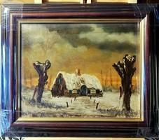 Jelzett, hangulatos festmény, új, széles, gyönyörű keretben ( teljes m.32.5 x 38 )