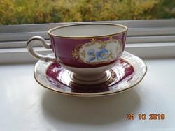 """1948 Volkstedt Beyer&Boch """"Pastorale""""aranybrokát virágmintás újszerű kávés csésze alátéttel"""