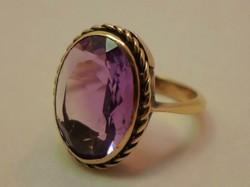 Csodálatos régi valódi ametisztköves arany gyűrű