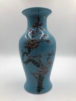 Festett kék kínai váza