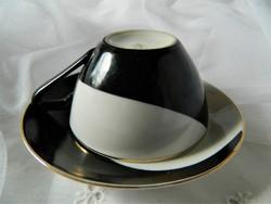Hollóházi mokkás csésze és alj, szett, fekete fehér