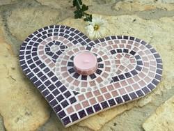 Pasztell Rózsaszín és lila szív mécsestartó mozaik asztalközép