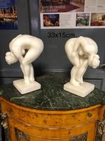 Művészi francia modern női  akt màrvány szoborpár