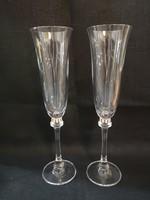 Elegáns olasz kristály pezsgőspohár pár Swarovski kristályokkal díszítve, hibátlan, új darabok