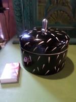 Art deco hangulatú , fekete-fehér , kerámia cukortartó fém fogóval .