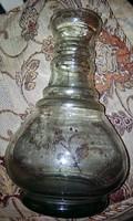 Gyönyörű antik nagy robosztus szakított üveg 25 cm magas