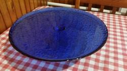 Antik üveg tortatartó, tortatál, kék színű talpas üveg kínáló tál