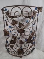 Fém - borostyános -  mécsestartó- gyertyatartó paraván - 37 x 26 x 8 cm ( 6 db-os)