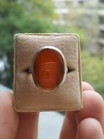 Régi Impresszív Karneol - Ezüst Gyűrű Természetes, Kezeletlen.
