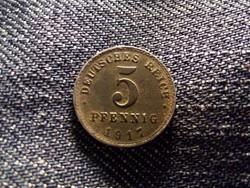 Németország Második Birodalom (1871-1918) 5 Pfennig 1917 A / id 12071/