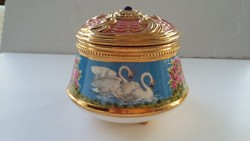 Régi porcelán ékszertartó doboz