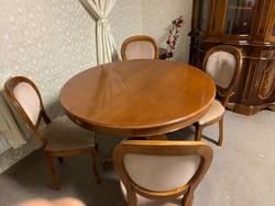 Kerek asztal hosszabítóval neobarokk székkel