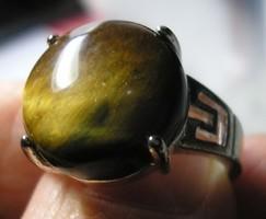 925 ezüst gyűrű, 17,3/54,3 mm tigrisszemmel