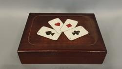 Gyönyörű szép régi fa póker kártya doboz újszerű kártyával