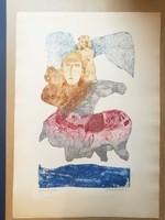 Eladó Kondor Lajos hibátlan rézkarca: Lovasfigura