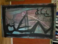 """Bosnyák László: """"Igen"""", (élő alvó), hatalmas festmény vászonra, feszítőkereten, 150x90 cm"""
