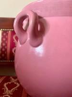 Antik Zsolnay pink rózsaszín hatalmas mázas szilke bödön