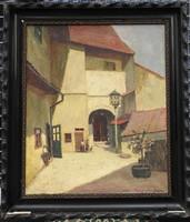 Guzsik Ödön (1902 - 1954) olajfestménye - Tabán - 1930-as évek. Jelzett, eredeti!