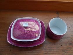 Hollóházi lila lüsztermázas porcelán asztali szett