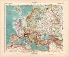 Európa térkép 1904, német atlasz, nagy méret, 39 x 47 cm, eredeti, Justus Perthes, Stielers
