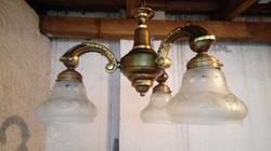 """Különleges antik 3 ágú réz csillár eladó """"nyitott búrás"""""""