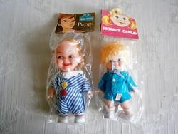 2 db régi hajas baba eredeti csomagolásban kék ruhában 15 és 17 cm